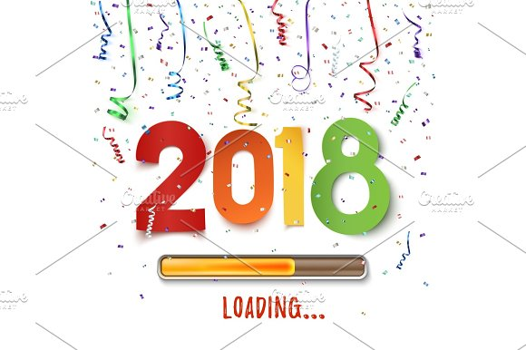 Happy New Year 2018 Loading Colorful Abstract Design