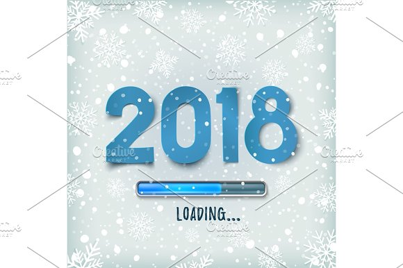 Happy New Year 2018 Loading Blue Abstract Design