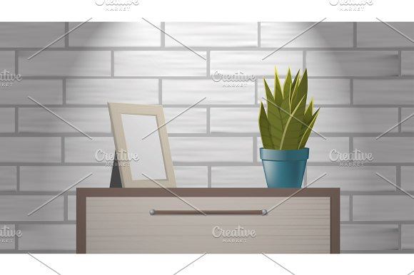 Realistic Woden Picture Frame Mock Up And Green Home Plant Standing On Commode