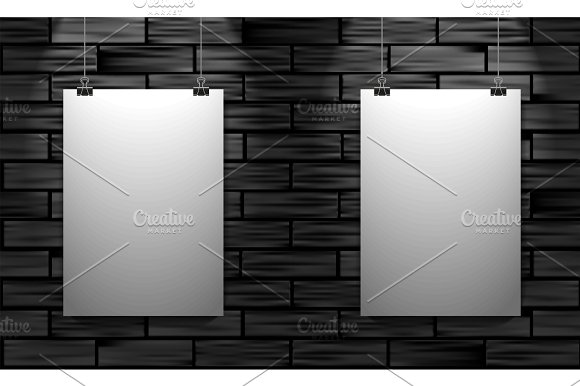 Two Posters On Black Brick Wall Vector Mock Up Illustration