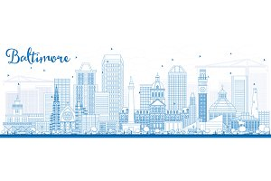 Outline Baltimore Skyline