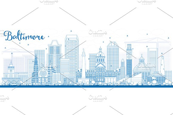 Outline Baltimore Skyline