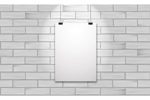 One poster on white brick wall. Vector realistic mock up illustration.