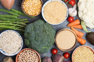 Variety of different vegetables and grains