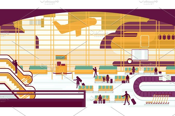 Business People Sitting And Walking In Airport Terminal Business Travel Concept Flat Design Vector Illustration