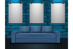 Sofa and three posters mockup. Home interior illustration