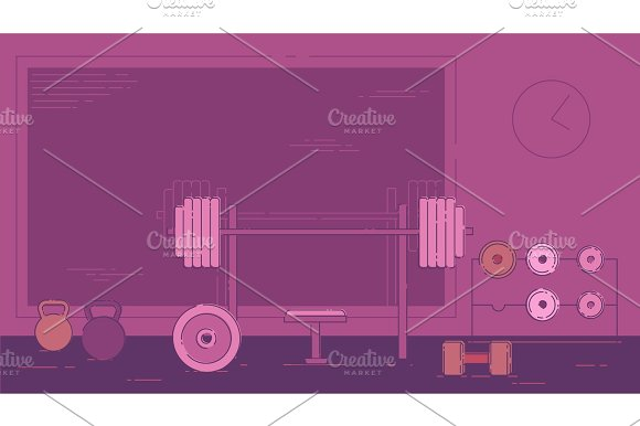 Gym Exercise Equipment Room Interior Indoor Set Linear Stroke Outline Flat Style Vector Icons Monochrome Cycle Bike Power Weight Lifting Gymnastics Rings Ball Wall Bars Icon Collection