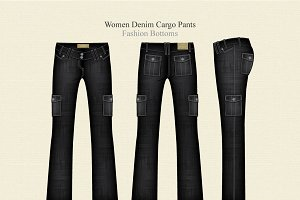Women Denim Cargo Fashion Pants