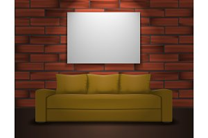 Sofa and one big poster mockup. Home interior illustration