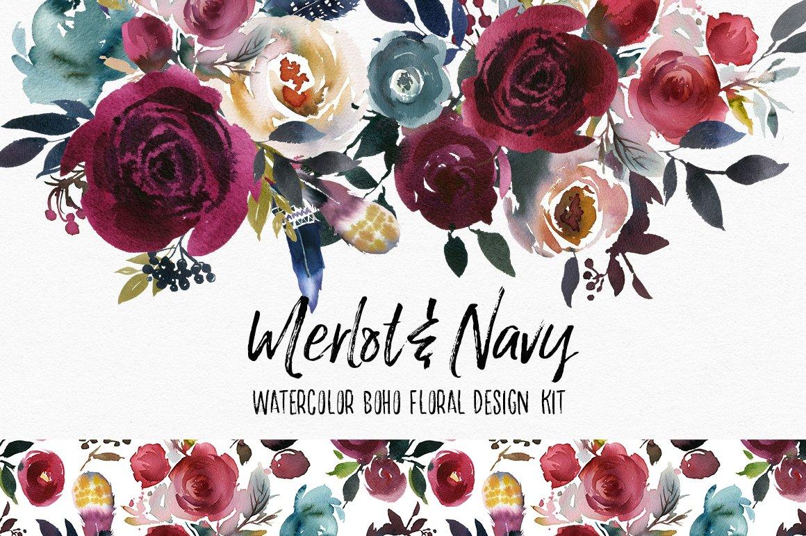 Merlot amp Navy Boho Floral Design Kit Illustrations