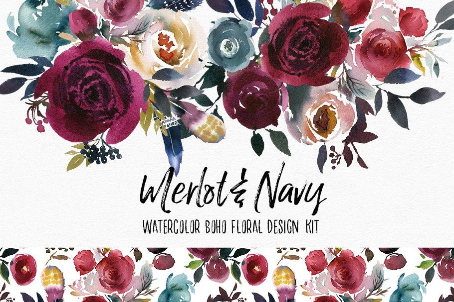 4f3e378d68a7aa Merlot   Navy Boho Floral Design Kit ~ Illustrations ~ Creative Market