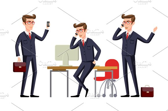 Businessman in a office workplace in Graphics