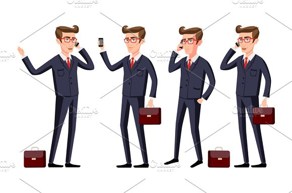 Businessman in a office workplace in Graphics - product preview 1