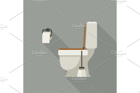Toilet Flat Illustration