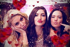 Composite image of pretty friends