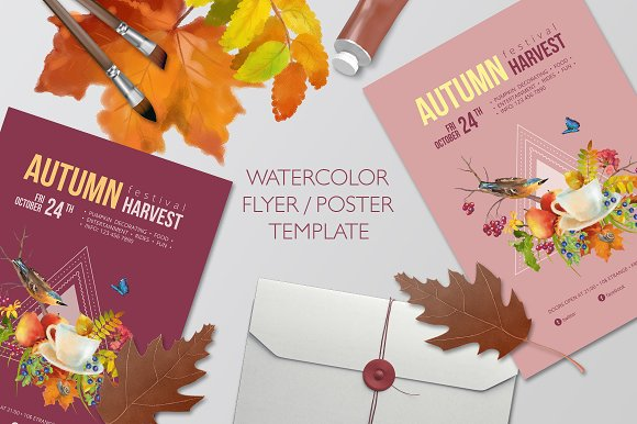 Watercolor Autumn Flyer Poster