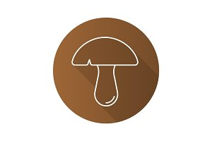 Mushroom flat linear long shadow icon