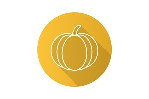 Pumpkin flat linear long shadow icon