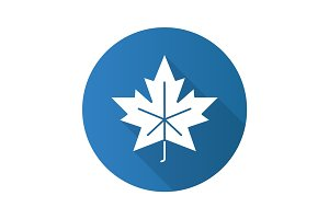 Maple leaf flat design long shadow glyph icon