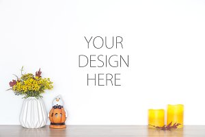Fall mockup - blank wall mock up