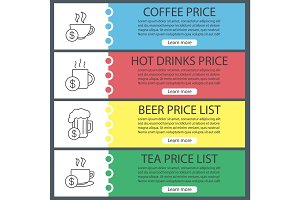 Drinks price web banner templates set