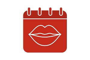 International kissing day glyph color icon