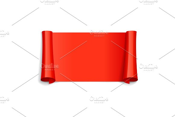 Realistic Red Glossy Vector Ribbon