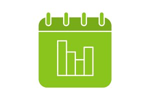 Calendar statistics glyph color icon