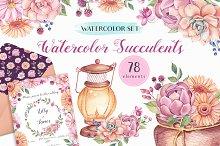 - 50% OFF - Watercolor Succulents