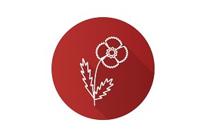 Poppy flower flat linear long shadow icon