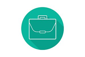 Briefcase flat linear long shadow icon