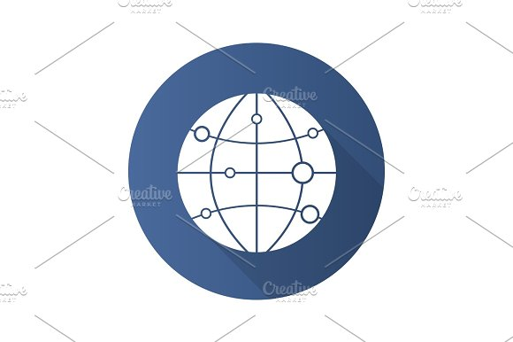Globe Model With Route Points Flat Design Long Shadow Glyph Ico
