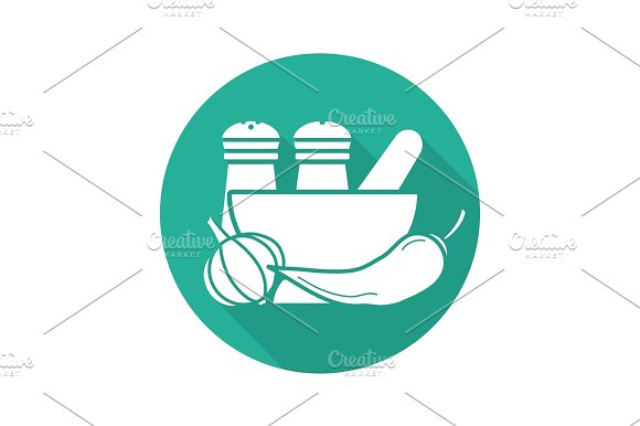 Spices Flat Design Long Shadow Glyph Icon
