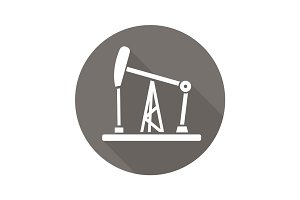 Oil derrick flat design long shadow glyph icon