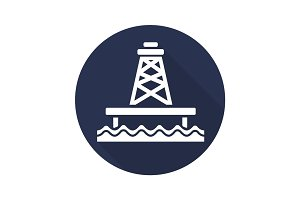 Offshore sea well flat design long shadow glyph icon