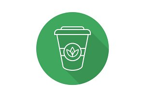 Takeaway tea cup flat linear long shadow icon