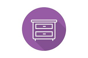 Nightstand flat linear long shadow icon