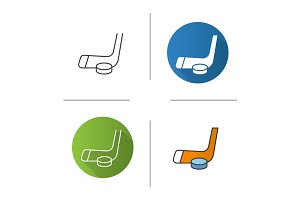Ice hockey equipment icon