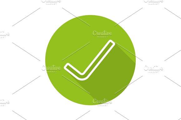 Tick Flat Linear Long Shadow Icon