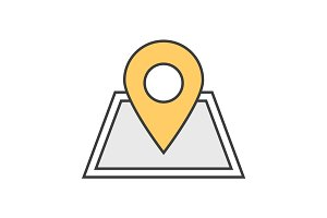 Building location pinpoint color icon