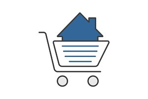Shopping cart with house inside color icon