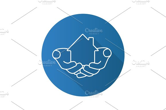 House In Hands Flat Linear Long Shadow Icon