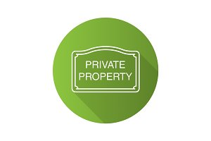 Real property sign. Flat linear long shadow icon