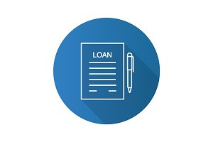 Loan agreement flat linear long shadow icon