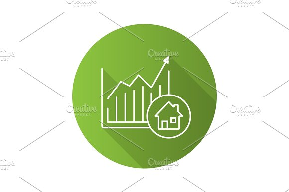 Real Estate Market Growth Chart Flat Linear Long Shadow Icon
