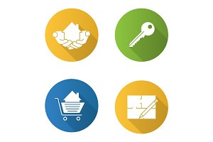 Real estate market. Flat design long shadow glyph icons set