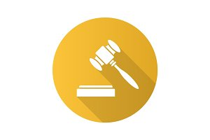 Gavel flat design long shadow glyph icon