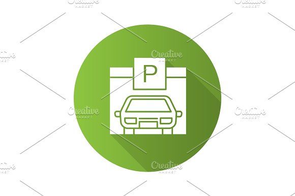 Parking Place Flat Design Long Shadow Glyph Icon