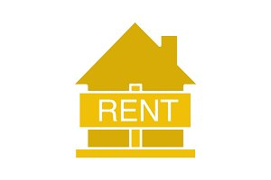 House for rent glyph color icon