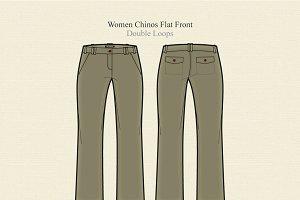 Women Chinos Flat Front